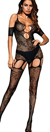 The victory of cupid Lingerie Bodystockings Plus Size Babydoll Teddy Nightie Leotard Body Suit Stocking (Black-3) (Cupid Lingerie)