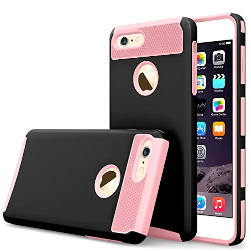 iBarbe Black+Rosegold Slim Fit case for iPhone 7,iPhone 8, Rubber Hard Plastic Shell Case Full Protective Anti-Scratch Resistant Cover Case for iPhone 7 (2016) / iPhone 8 (2017) (Difference Between Vans And Vans Off The Wall)