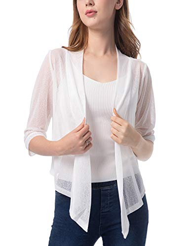 Womens 3/4 Sleeve Sheer Shrug Tie Top Lightweight Knit Cardigan White