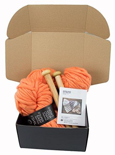 Chunky Knit Blanket DIY Kit, Super Soft Thick Yarn, Large Wood Knitting Needles (Orange)