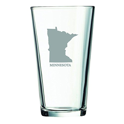Minnesota-State Outline-16 oz. Pint Glass (Mn Beer Glass compare prices)