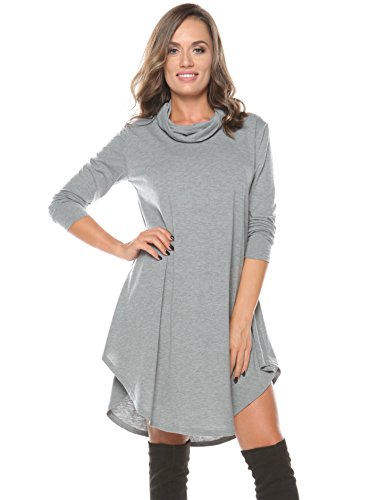 ROSERRY Women's Long Sleeve Casual Loose T-Shirt Dress (S, Grey) - Maternity Tunic Dress