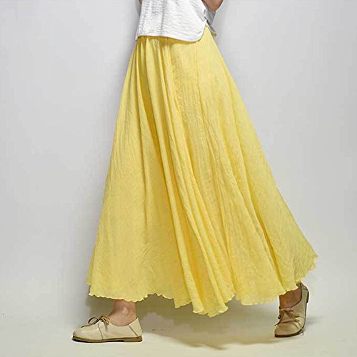 Elegante Boda De Vestido Noche Boho Falda Playa Plisadas Mujer Larga Cintura De Falda Vestidos Maxi Amarillo Elástica Grande De Fiesta gqwOnY6R