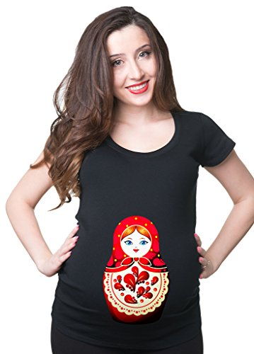 Silk Road Tees Russian Doll Maternity T-Shirt Matryoshka Pregnancy Top Medium -