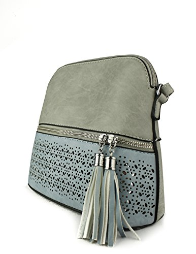 Foxlady Snakeskin Grey Trendy Mini Zip Leather Faux Women's Sling Tassel Handbag Crossbody Blue Decorative x7wqr7tX