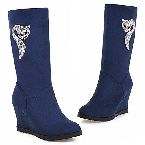 LongFengMa Women's Wedge Heel Mid-Calf Boots Blue dOqfALJQ