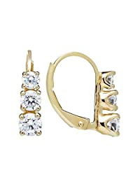 """14K Solid White or Yellow Gold Earrings   Round Cut Leverback 3-Stone""""Trilogy"""" Cubic Zirconia   Basket Setting   1.90 CTW, Diamond Equivalent   With Gift Box"""