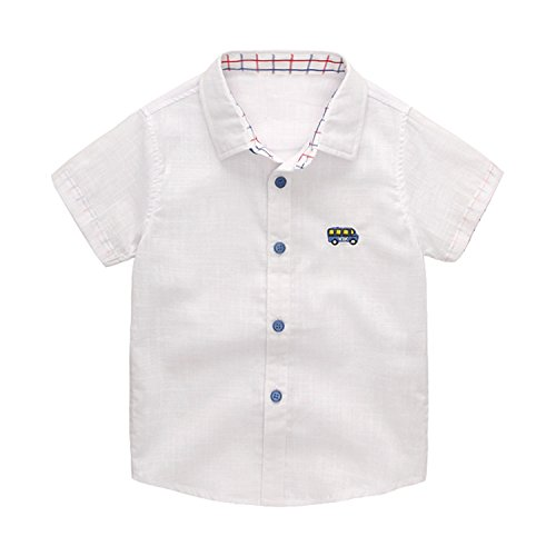 Evelin LEE Baby Boys Short Sleeve Organic Button Down Woven
