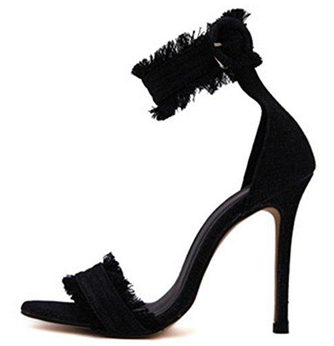 Chfso Donna Denim Frangia Stilistica Open Toe Caviglia Polsino Partito Stiletto Tacchi Alti Sandali Scarpe Nere