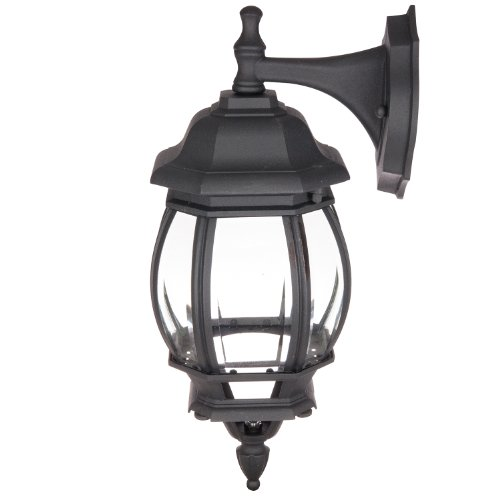 Sunlite ODI1070 16-Inch Decorative Carriage Style Wall Mount Down Outdoor Fixture, Black Finish with Beveled Glass