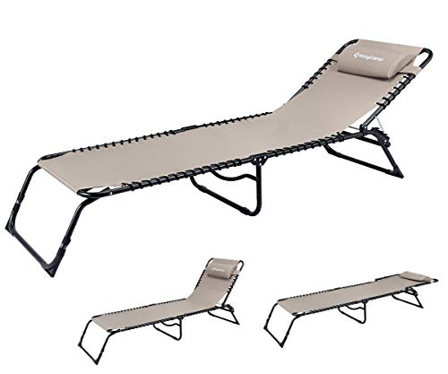 KingCamp Chaise Lounge Folding Cot Camping Adjustable Recliner Sunbathing Beach Pool Bed Cot with Pillow (Beige) (Lounge Reclining Chaise Outdoor)