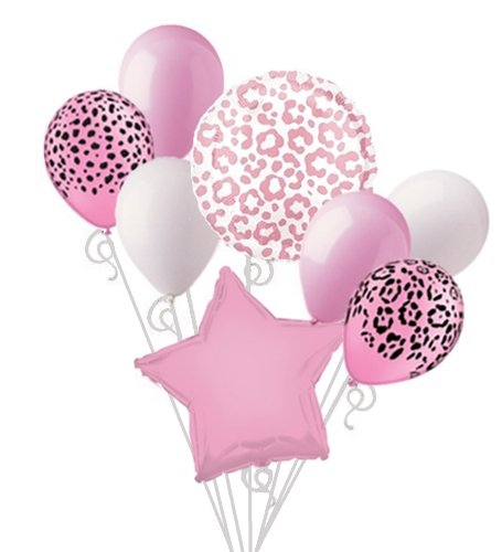 Pink Cheetah Print Balloon Bouquet Set Pink Leopard Print Party Decoration 8pc