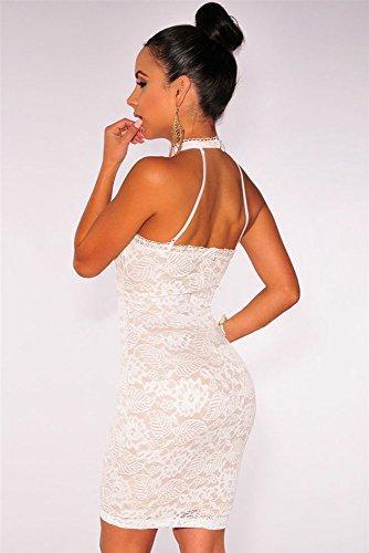 Sangle double en dentelle Motif floral Blanc Robe Bodycon avec dos Club Wear Taille/M 10–12