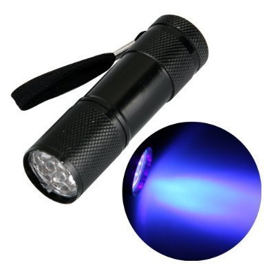 Black Ultra Violet 9 LED Blacklight Inspection Flashlight Stain & Urine Detector For Dog & Cat Mistakes Uses UV Light to Spot Dry Pet Urine On Carpet & Other Surfaces - Alloy Locations Apparel