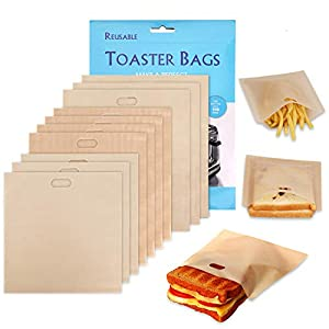 Non-Stick Reusable Toaster Bags – Samshow 3 Sizes Toaster Bags for Heat Resistant – FDA Approved, Perfect for Grilled Cheese Sandwiches, Chicken, Nuggets, Panini and Garlic Toasts – 10 Pack