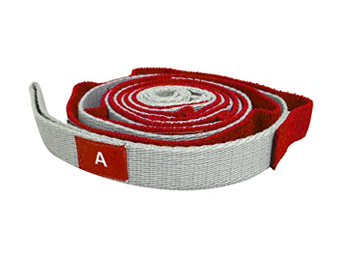 Yoga & Pilates Stretch Out Strap with Multiple Handling Loop – Optimal Stretching Support Belt For Exercise, Physical Therapy – Improve Muscles & Fitness – Red/Silver Stretch Band by The Health Gurus