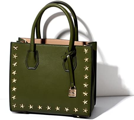 Shengjuanfeng Womens Handbag Rivet Leather Handbags New Five-Pointed Stars Mercer Shoulder Bag Lock Bag Color : Green, Size : M