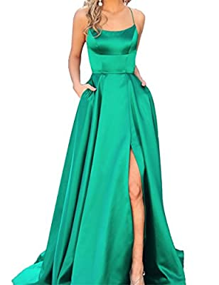 Libaosha Sexy Side Split Formal Evening Gowns Spaghetti Straps Prom Dresses Long With Pockets