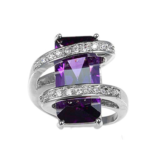 Tension Earrings Princess Set (Rectangular Zircon Ring Unique Charm Style Round Design Female Rings Women Engagement Ring Gift,6,Amaranth)