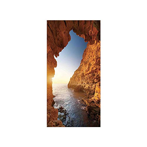 (Decorative Privacy Window Film/Sunset in Pacific Paradise Ocean Cave with Morning Light Horizon Stone Calm Seacoast Art/No-Glue Self Static Cling for Home Bedroom Bathroom Kitchen Office Decor Cream B)