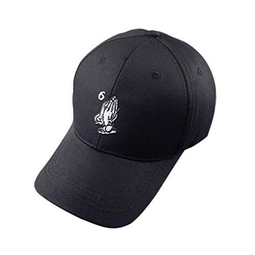 Amlaiworld Mode Mützen Caps einstellbarer HipHop Finger Sun Baseballkappen (Schwarz 1)