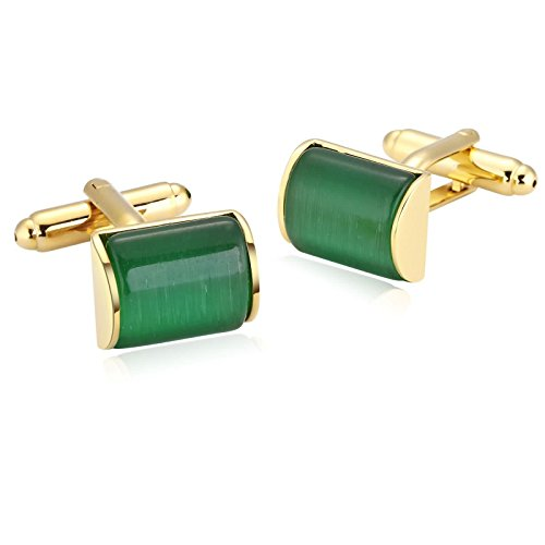 Bishilin Stainless Steel Camber Rectangle Classical Crystal Suit Wedding Cufflinks for Mens Gold Green
