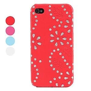 (CASEI)Hi-Q Rhinestone Floret Case for iPhone 4 and 4S (Assorted Colors) , Blue