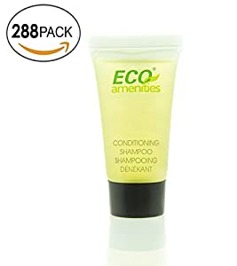 ECO AMENITIES Travel size 0.75oz hotel shmapoo and conditioner bulk, Clear, Green Tea, 288 Count