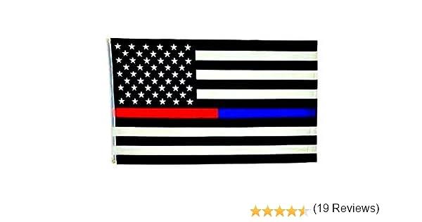 Thin línea azul & delgada línea roja Bandera Americana – 3 por 5 Bandera de pies con arandelas: Amazon.es: Jardín