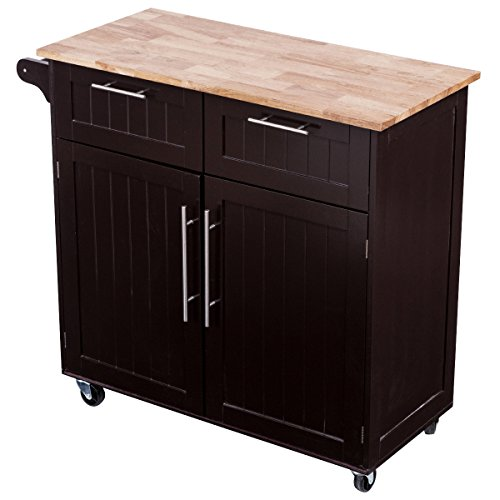 Giantex Rolling Kitchen Cart On Wheels Cabinet Storage Cart Island Heavy Duty Storage Rolling Trolley