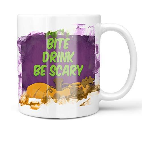 Neonblond 11oz Coffee Mug Bite Drink Be Scary Halloween Pumpkin Top with your Custom Name ()