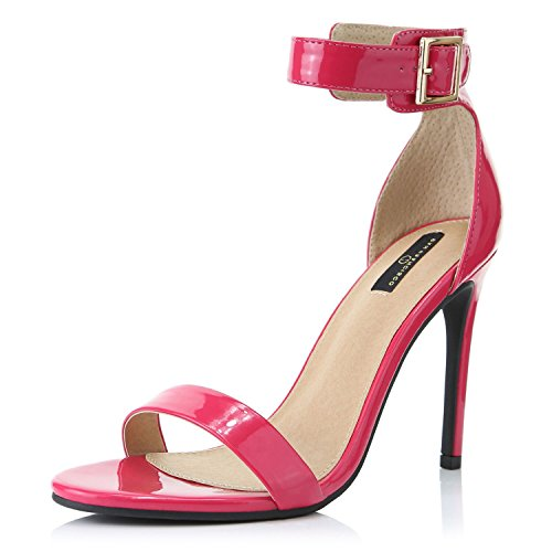 DailyShoes Women's Fashion Open Toe Ankle Buckle Strap Platform High Heel Casual Sandal Shoes, Fuchsia Patent Leather, 6.5 B(M) US (55 Open Toe Ladies Shoes)
