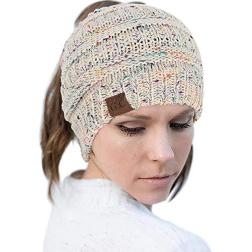 Dissytoys Ponytail Beanie Hats Messy Bun Knit Hat Winter Soft Warm Ponytail Beanies for Women