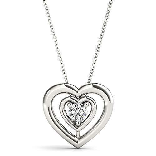 14 KT White Gold 0.11 CT Round Solitaire Heart Diamond Pendant Necklace Amcor Design (0.11 Ct Diamond Pendant)