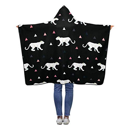 - INTERESTPRINT Cougar Black Hooded Blanket 50 x 40 inches Toddler Kid Baby Boys Girls Throw Polar Fleece Blankets Wrap