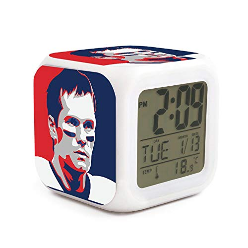 TablincoT Easy Setting Digital Travel Alarm Clock Large Display Time & Month & Date & Temperature &Alarm Handheld Sized, Best Gift for Kids and Family (Football Brady Goat 12 Art Print) ()