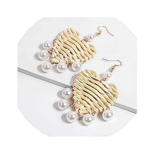 - Unique Handmade Rattan Drop Dangle Earring Women Bohemia Beach Shell Statement Wooden Straw Weave Rattan Jewelry,10