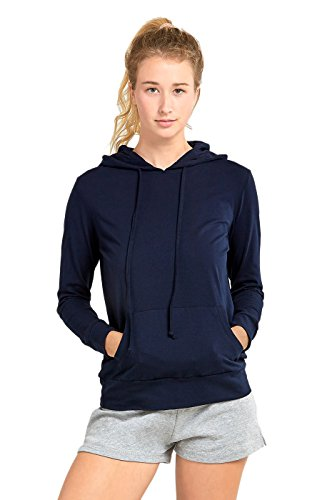 (Sofra Women's Thin Cotton Pullover Hoodie Sweater (M, Navy))