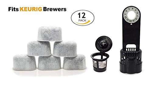 ElloGreen Keurig Compatible Water Filter Replacement with Holder and K Cup Kit - Universal (NOT CUISINART) for Kuerig Coffee Machines 1.0 - Removes Impurities and Improves Taste (12 Pack) ()