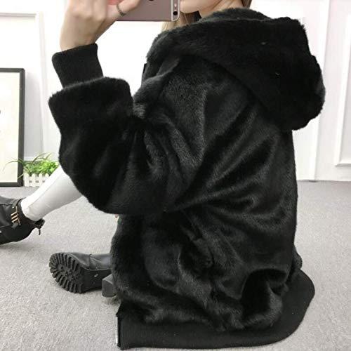 Largo Suave Negro Caliente Abrigo Moda Retro Encapuchado Otoño Sólido De Color Piel Outerwear Elegante Espesar Abrigos Falsa Exquisito Invierno Cómodo Casuales Mujer Chaqueta Manga Og8Yaw6q8