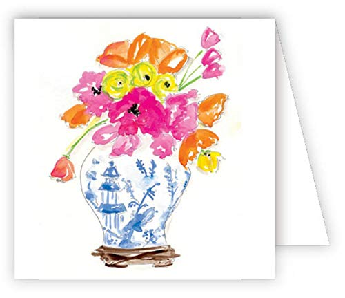 Rosanne Beck Collections Botanical Flowers in Vase Hand Embellished Glittered Gift Enclosure Cards Box of 12 Assorted Cards with Envelopes ()
