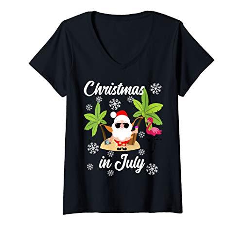 Womens Christmas in July Funny Summer Flamingo Hawaiian Lover Gift V-Neck T-Shirt