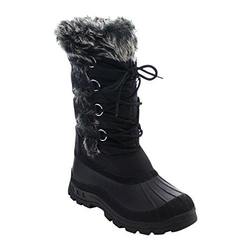 Beston Top Moda Snowy-1 Dames Veterschoenen Onder Kniehoge Snowboots Zwart