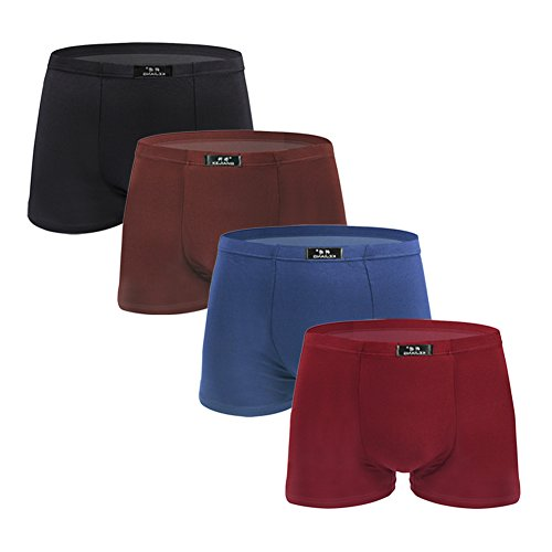 SLJ Men's Underwear Comfortable Modal Lightweight Boxer Briefs(4-Pack) by SLJ