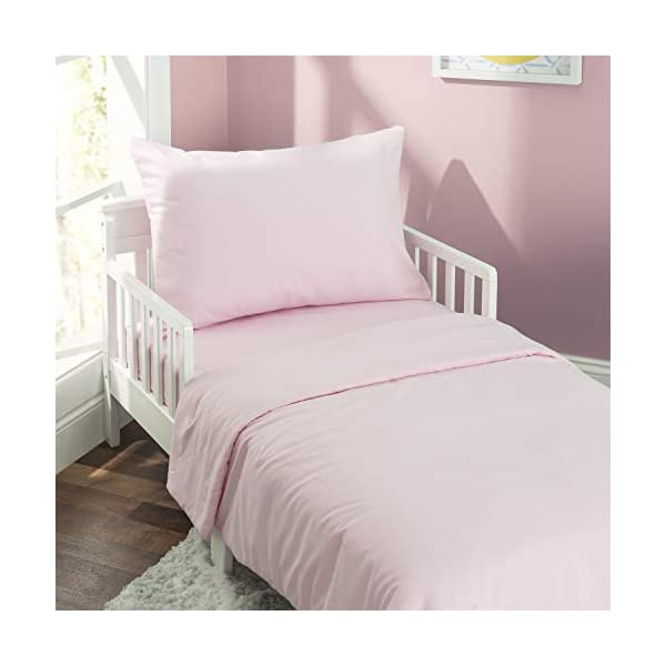 EVERYDAY KIDS 4 Piece Toddler Bedding Set - Includes Comforter, Flat Sheet, Fitted Sheet and Reversible Pillowcase - Solid Pink 2