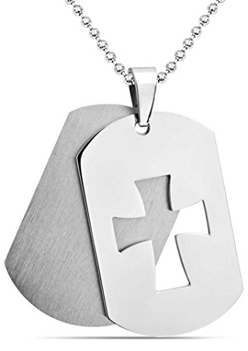 - Bling Jewelry Engravable Mens Cutout Cross Dog Tag Pendant Stainless Steel Necklace 20 Inches