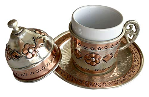 Copper Turkish Coffee Set, Six Greek Armenian Arabic Espresso Porcelain Cups Tray Sugar Bowl, with Silver-plate detail, Handcrafted by Mandalina Magic by Mandalina Magic (Image #4)