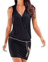 Womens Casual Sleeveless Retro Party Beach Mini Dress Beach Sun Dress