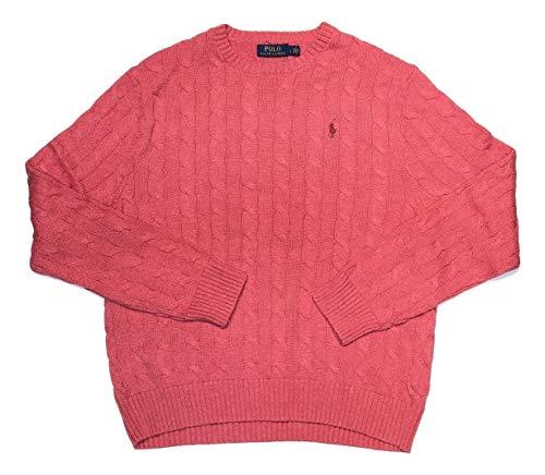 Polo Ralph Lauren Men's Pony Cable Knit Crewneck Sweaters (Orange Heather, X-Large)