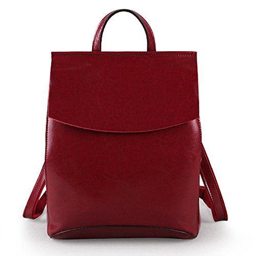 (JVP1088-R1) Suerte de cuero de vaca zurriago mochila de vino tinto 3way bolso de hombro bolso simple anillo impermeable niñas viajan a la moda popular lindo Vino Tinto 1